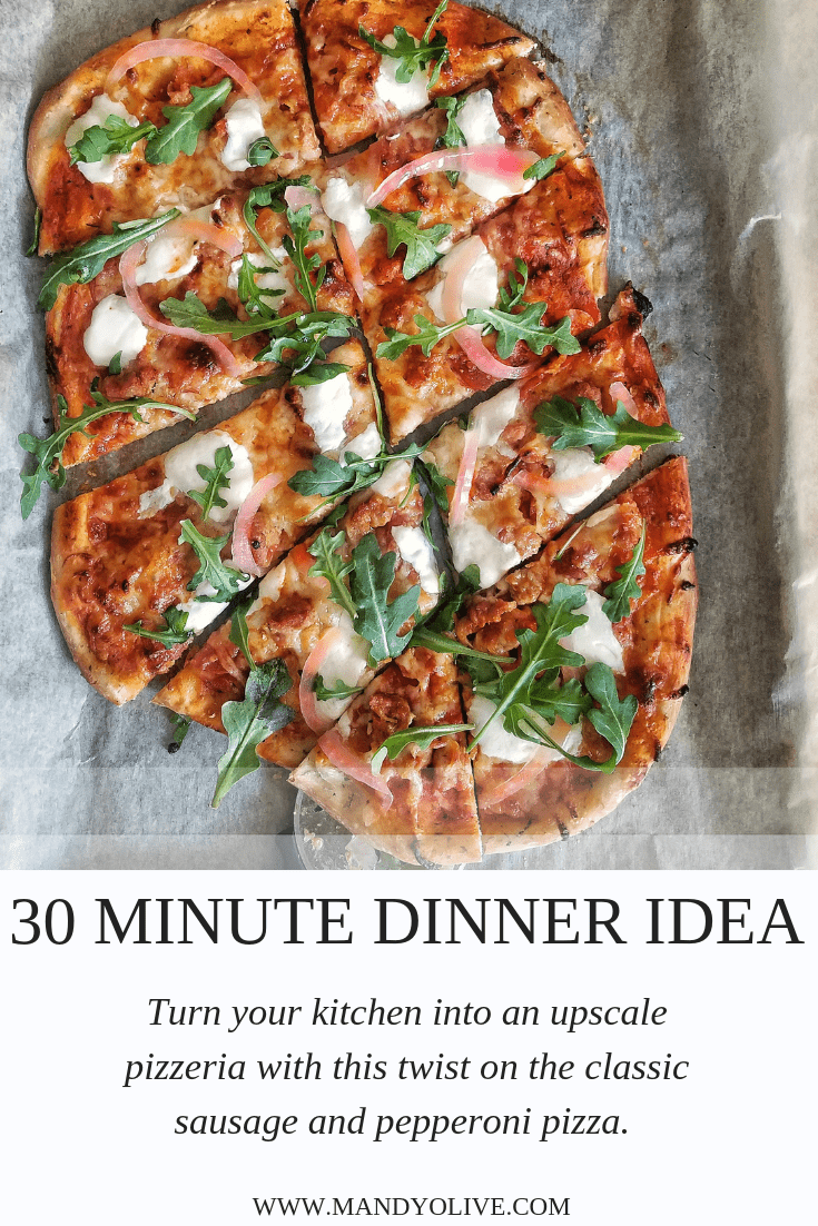 This quick pizza recipe is a classic twist on sausage and pepperoni pizza. Store bought pizza dough topped with gooey mozzarella, arugula and tangy pickled red onions. Perfect for 30 minute weeknight meal ideas