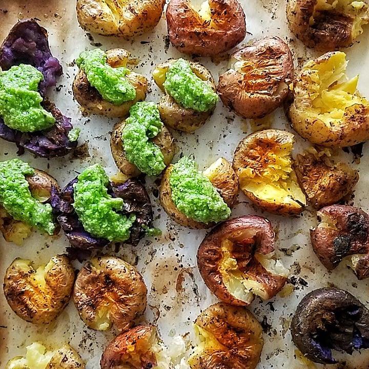 Roasted potatoes with Pea Pesto