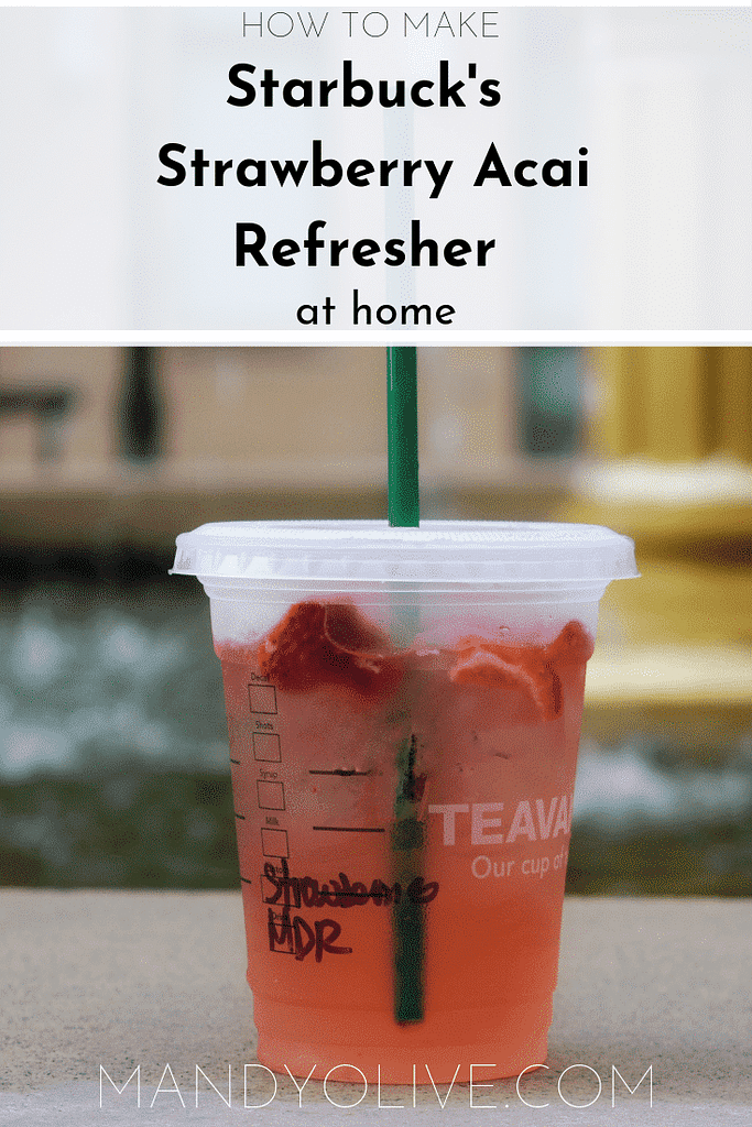 The best diy Starbuck's strawberry acai refresher drink copycat recipe.   Starbucks recipes, Starbuck's drink recipes, Starbuck's copycat recipes, vegan, Gluten-free, pink drink, how to make, starbucks at home.