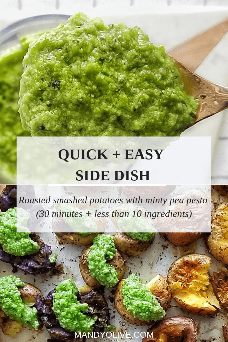 quick and easy side dish idea. roasted potato salad with pesto. how to make pesto. crispy smashed potatoes.