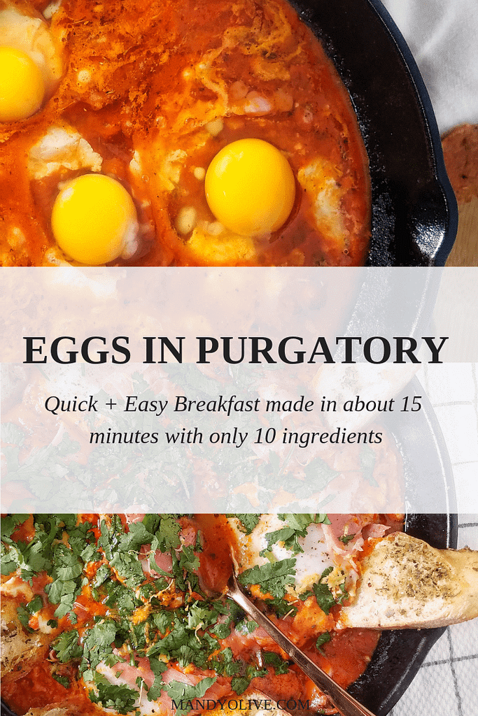 shakshuka or eggs in purgatory is an easy breakfast or brunch recipe that can be made in about 15 minutes with only 10 ingredients. | tomato sauce, egg recipe, breakfast ideas, quick, simple, brunch ideas, mother's day recipes, brunch parties, healthy,