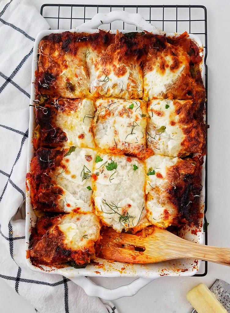 pictured pesto mushroom bolognese lasagna recipe found on mandyolive.com