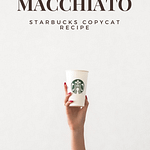 Starbucks apple crisp macchiato copycat recipe pin for pinterest. woman's arm holiding a starbucks cup