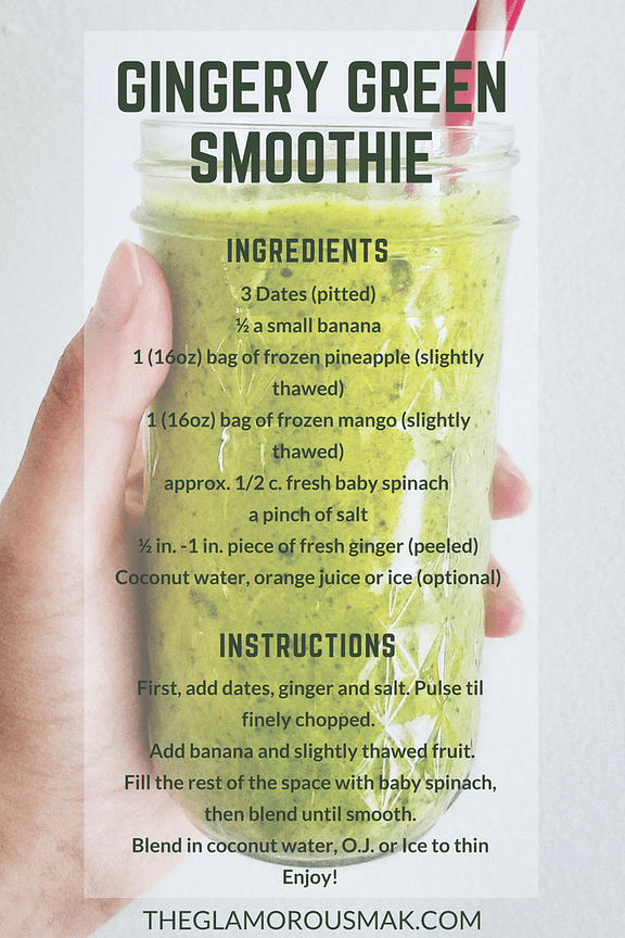 This smoothie recipe with ginger can help with weight loss, energy, glowing skin, cleanse and detox. This green smoothie is a great alternative for breakfast or as a meal replacement. It can also be a healthy snack for kids! Sweet enough to make you forget its a healthy food.