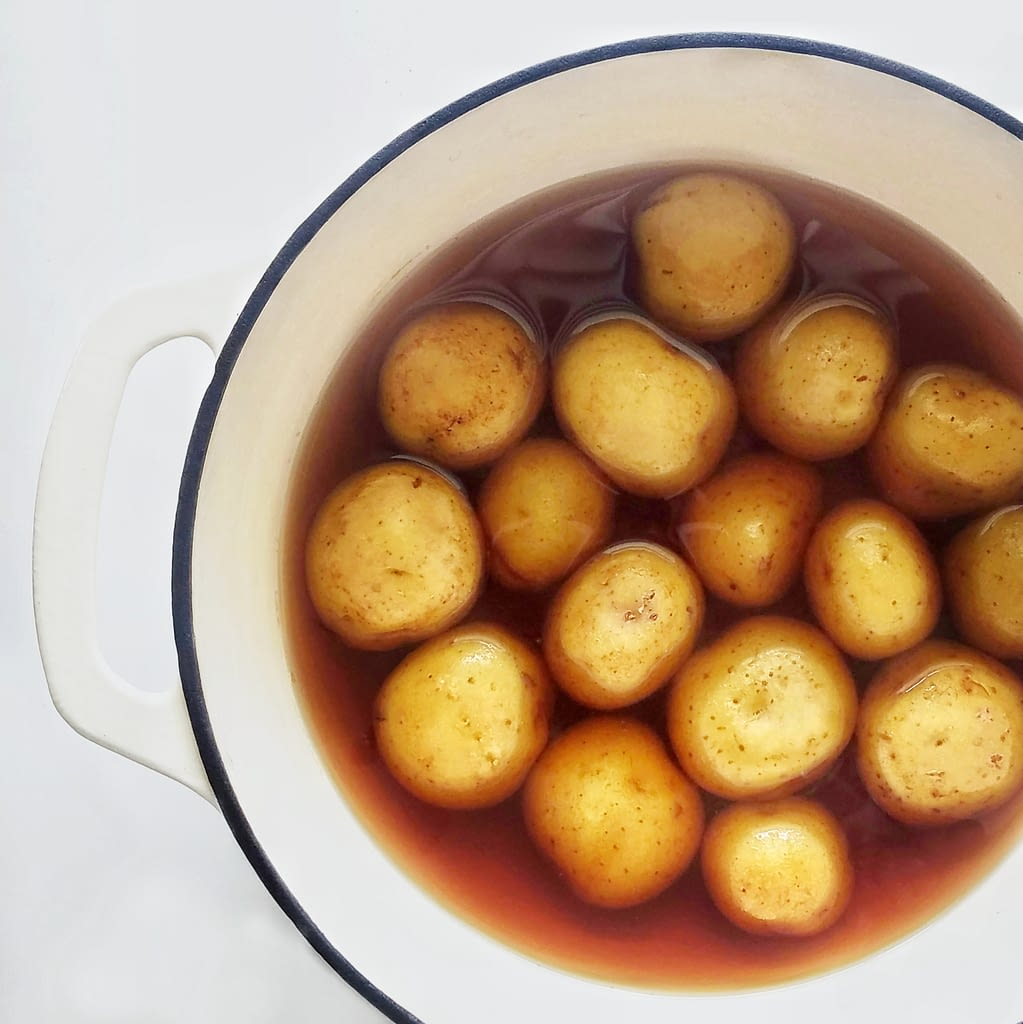 boiling baby potatoes in malt vinegar recipe on mandyolive.com