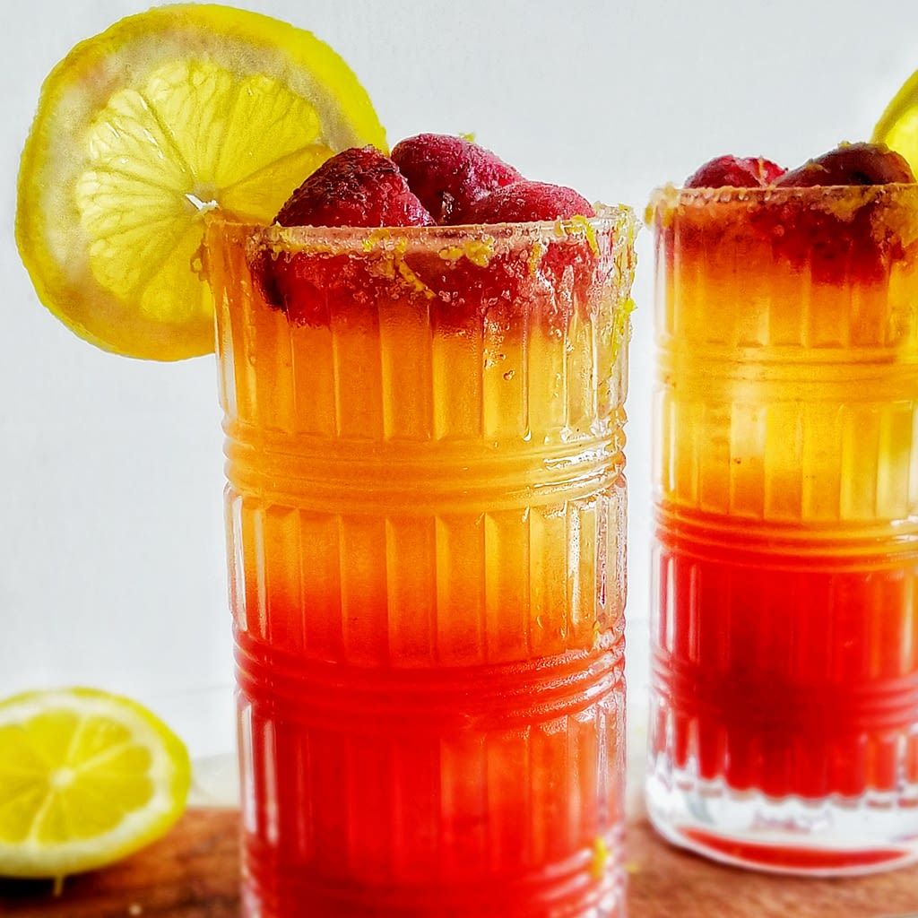 Sparkling strawberry passion fruit lemonade