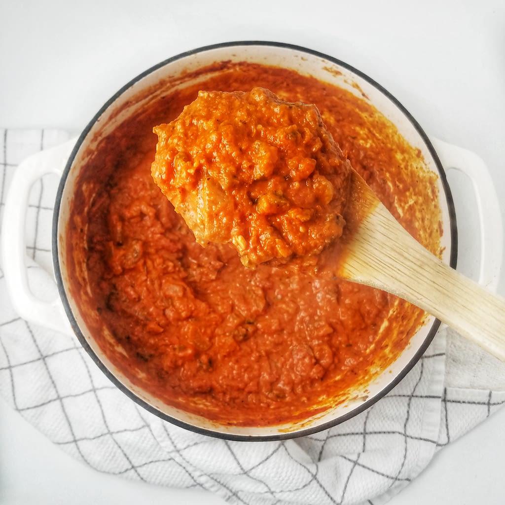 mushroom bolognese sauce recipe found on mandyolive.com