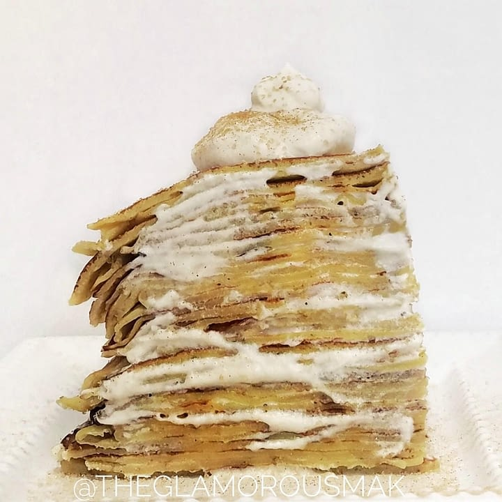 Cardamom Vanilla Crepe Cake with Maple Whip