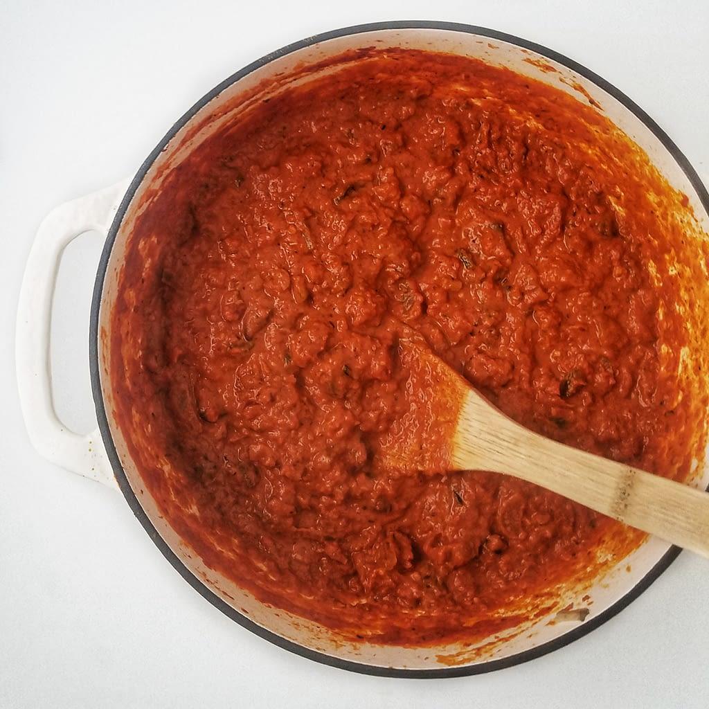 how to make mushroom bolognese sauce recipe on mandyolive.com