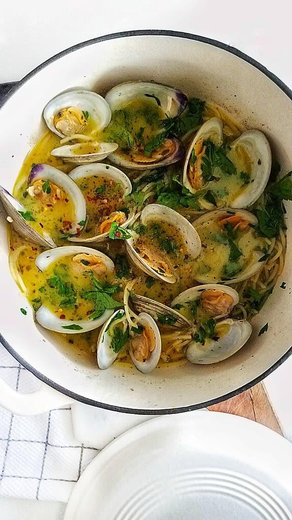 clam pasta recipe from mandyolive.com
