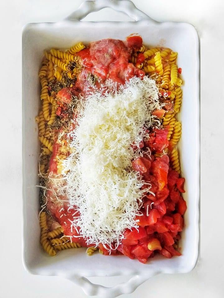 no boil pasta bake recipe found on mandyolive.com