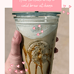 nitro cold brew starbucks salted caramel in a starbucks cold cup with caramel drizzle pinterest image